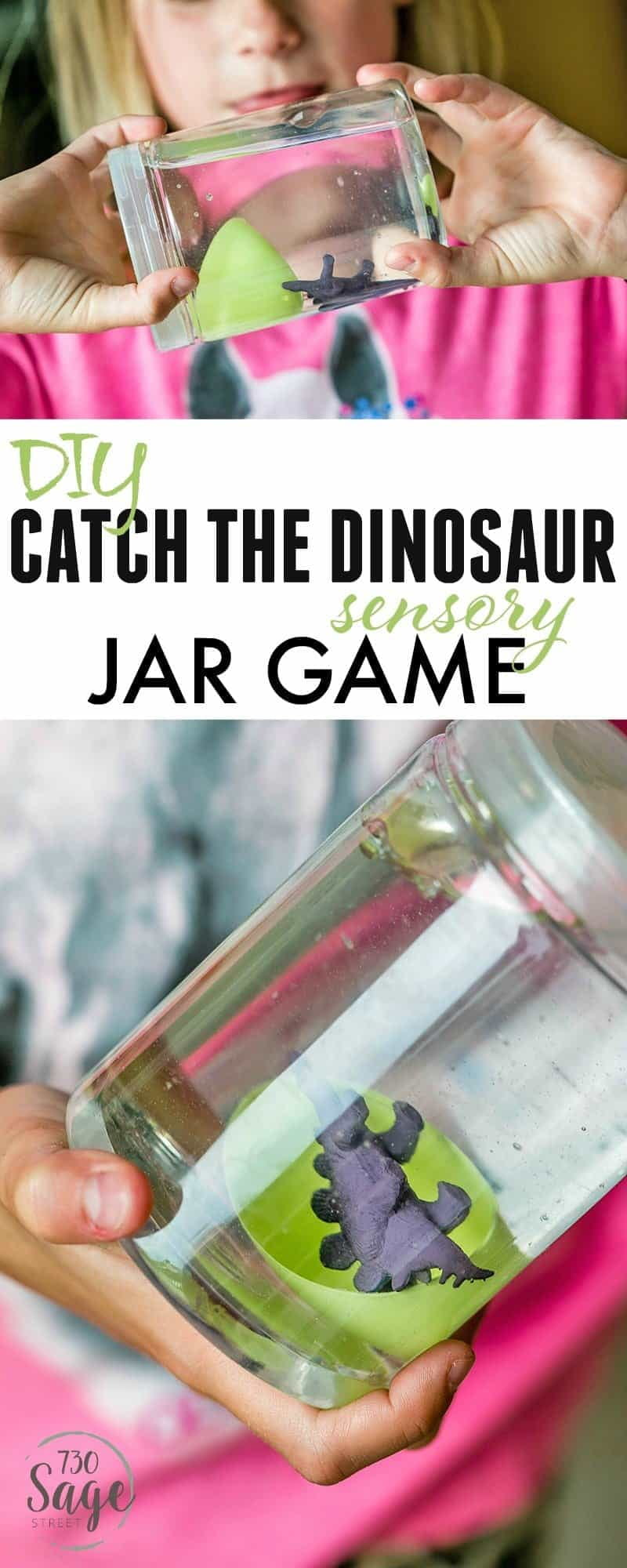 Dinosaur Preschool Crafts help engage imaginations and keep kids busy. This DIY Catch The Dinosaur Sensory Jar Game is easy to make and is super fun!