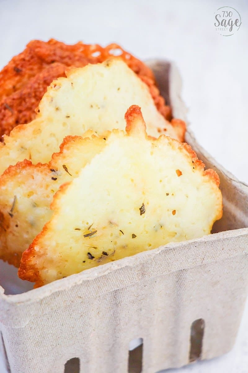 These low carb Italian cheese crisps are the perfect low carb or keto snack. They are easy to make, and really help keep you from missing salty, savory snacks like chips, pretzels or crackers.