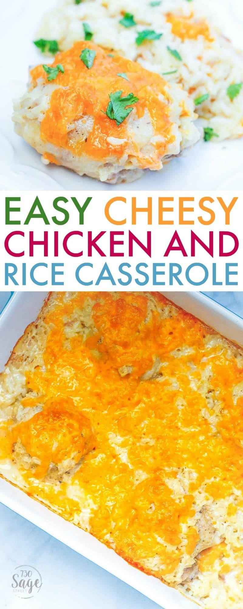 This easy cheesy chicken and rice bake is the perfect casserole recipe for busy weeknights and picky kids. Simple to make & oh-so-good!