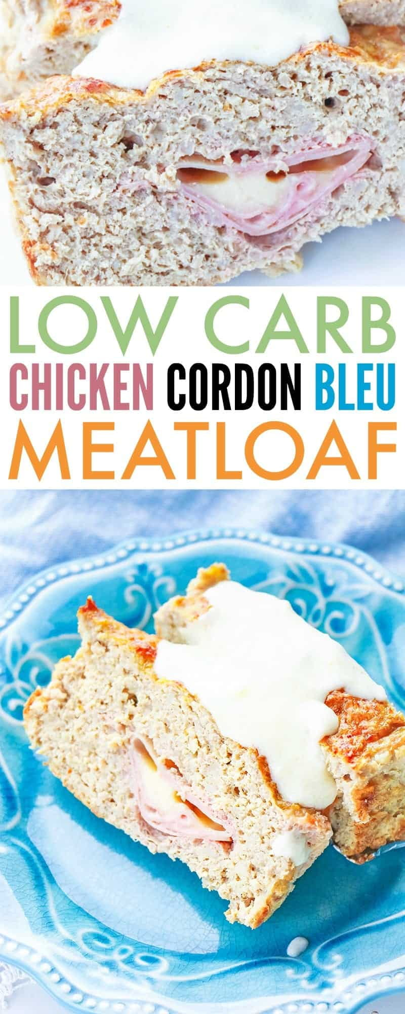 This low carb chicken cordon bleu meatloaf takes meatloaf to the next level by using ground chicken and stuffing it with ham and cheese and slathering it in a creamy sauce. Perfect keto dinner for the whole family!