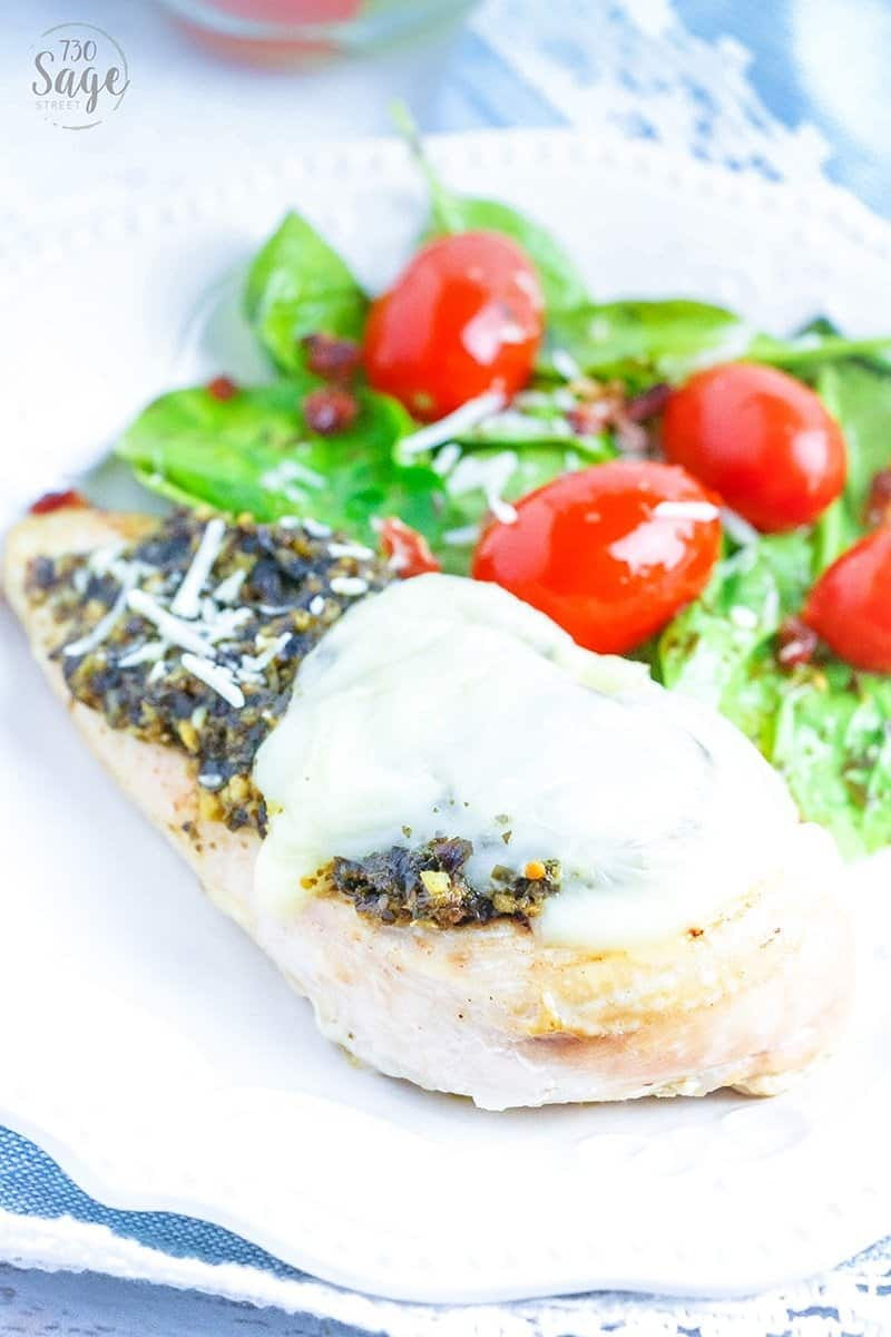 This super easy keto, low carb pesto Caprese chicken is sure to be a family favorite. Full of flavor, you can get it on the table in around a 1/2 hr. or so.