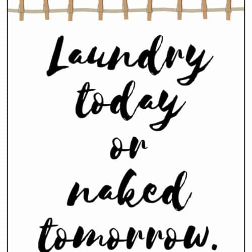"""Spruce up your laundry room affordably with this free printable laundry room art with the fun saying: """"Laundry today or naked tomorrow."""" Easy to frame!"""
