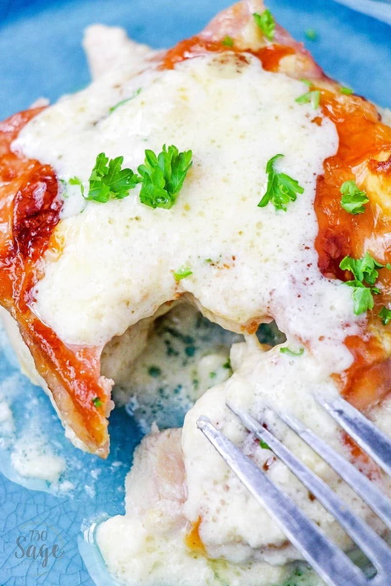 This delicious, easy to make, low carb chicken cordon bleu casserole uses a secret ingredient to add flavor and texture to this classic flavor combination.