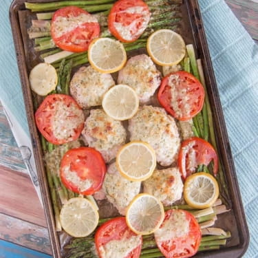 Sheet Pan – Lemon Chicken with Garlic Parmesan and Asparagus