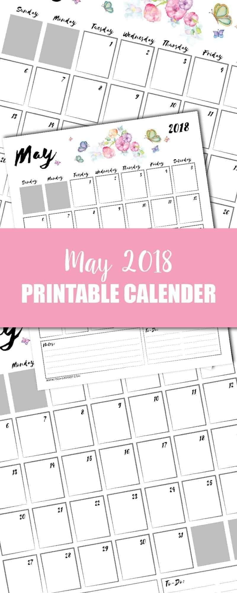 tall graphic showing a May 2018 printable calendar