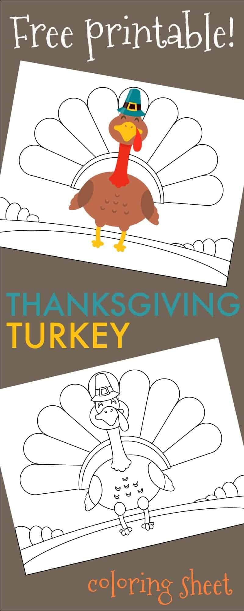 "Collage of two line drawing turkey coloring sheet printables on a brown background. Top turkey is partially colored, the bottom turkey is blank. Text across the image reads ""free printable Thanksgiving turkey coloring page."""