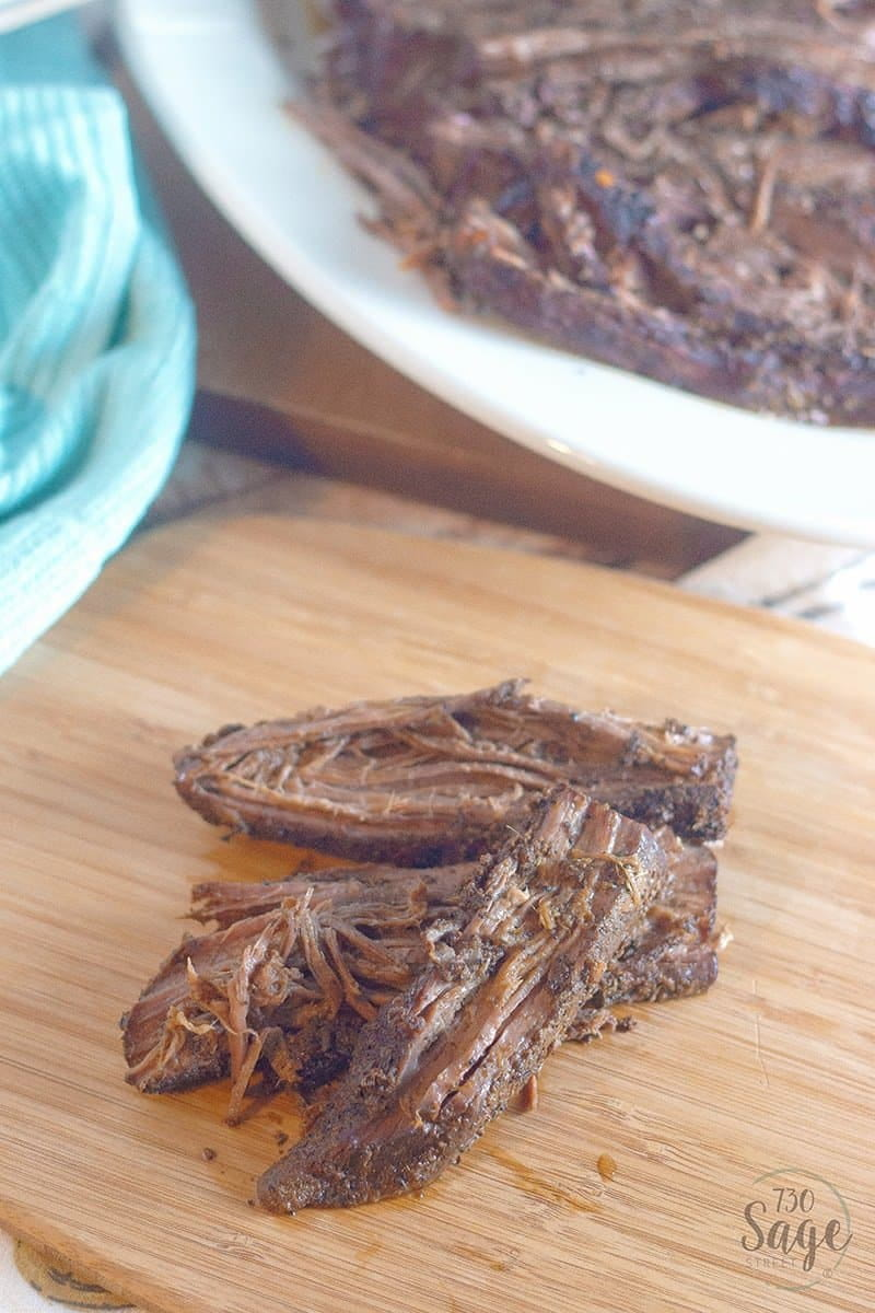 This low carb brisket recipe with coffee-chili dry rub is easy to make in a slow cooker for a delicious keto dinner. Tender and full of spicy flavor!