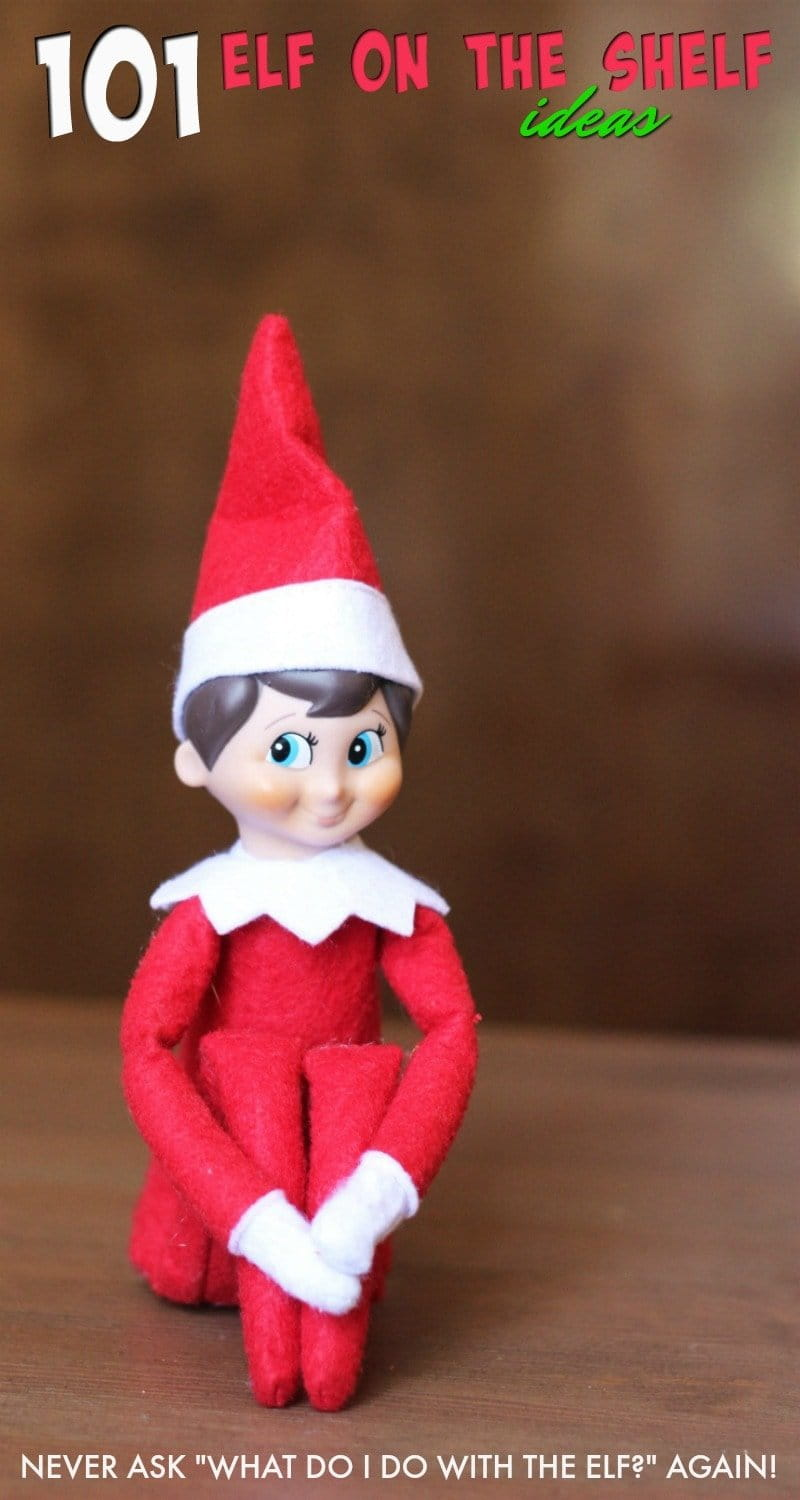 "Elf on the shelf on a brown table with a brown background and text that reads ""101 Elf on the Shelf Ideas"""