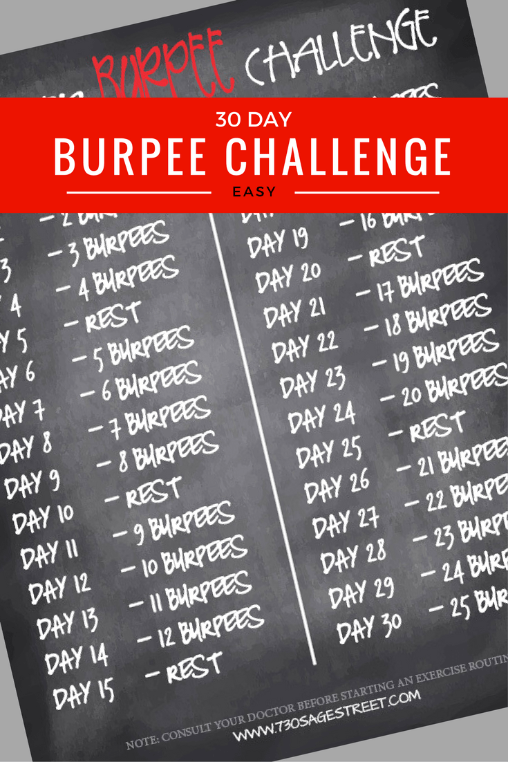 printable graphic - white text on a black background of the 30 Day Burpee Challenge - Easy Burpee Challenge for Beginners