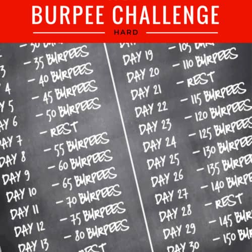 printable graphic - white text on a black background of the Burpee Workout - Extreme 30 Day Burpees Challenge