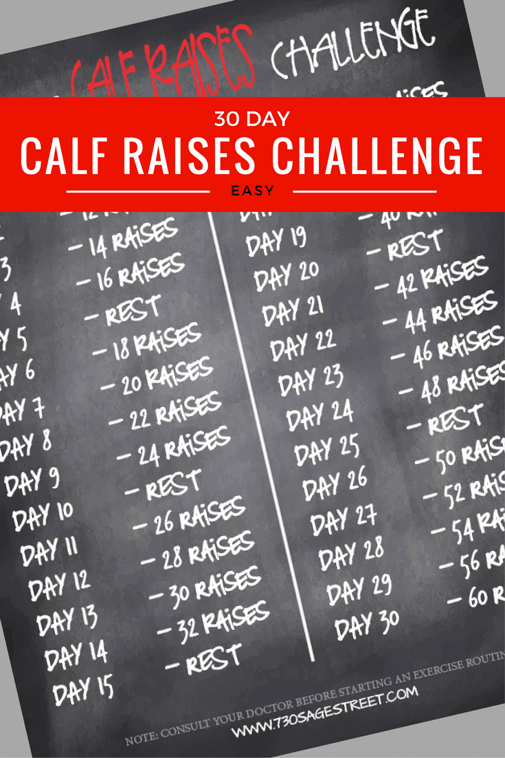 printable graphic - white text on a black background of the 30 Day Calf Challenge - Easy Calf Raises at Home for Beginners