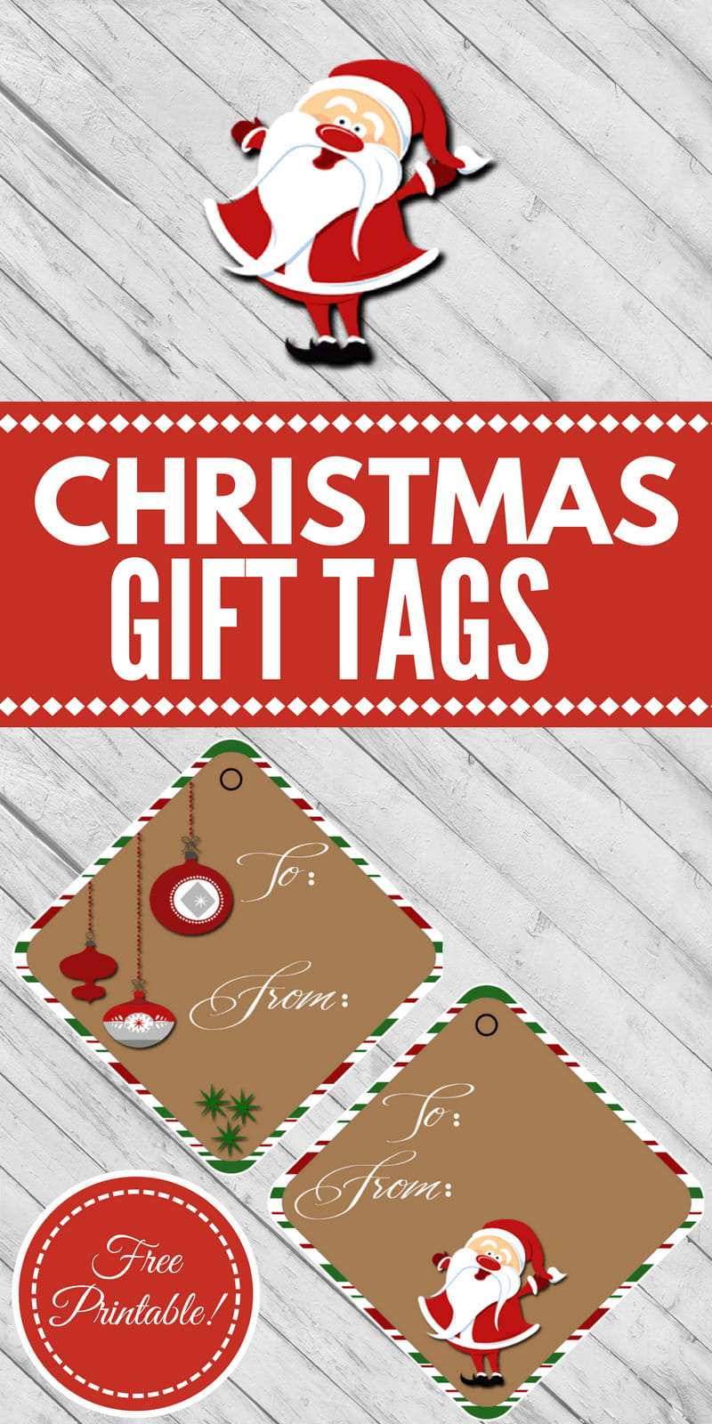 "These cute Santa and retro ornament ""To:/From:"" Christmas Gift Tags will look great on your presents and under your tree."
