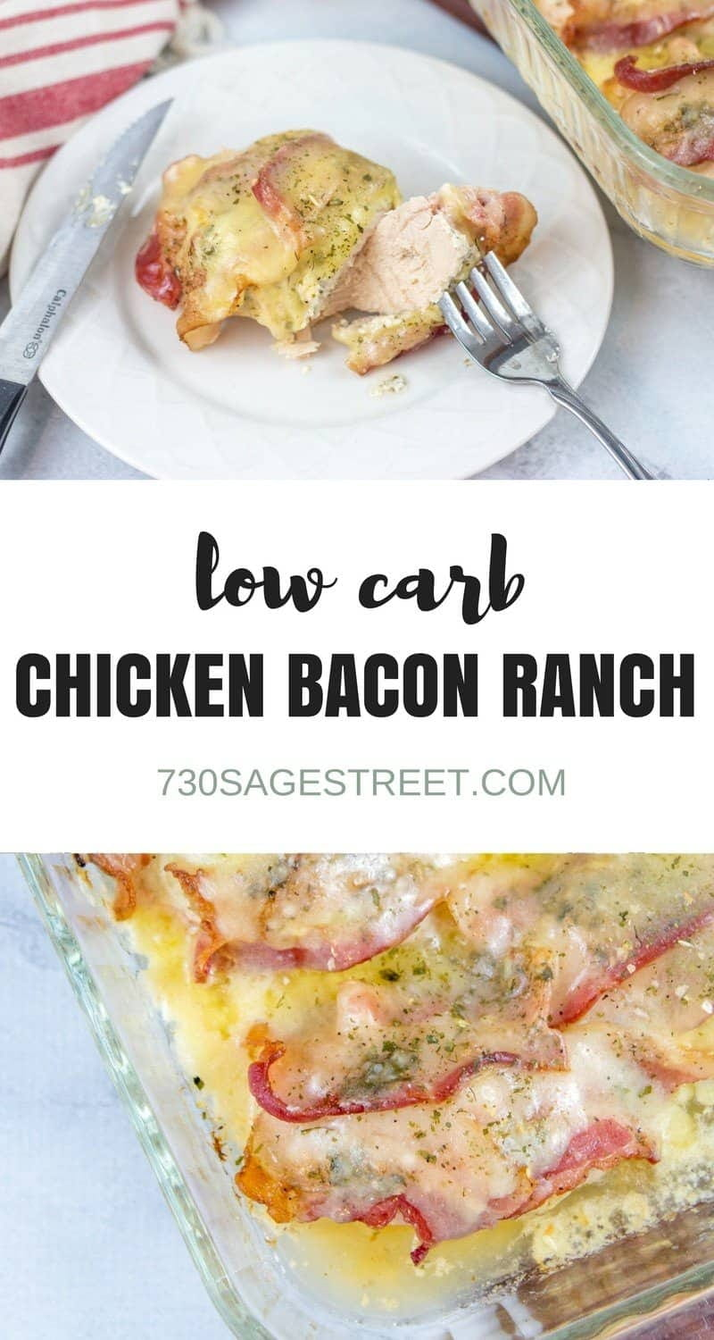photo collage of piece of chicken bacon ranch recipe
