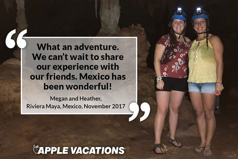 two women in an underground cave in Mexico