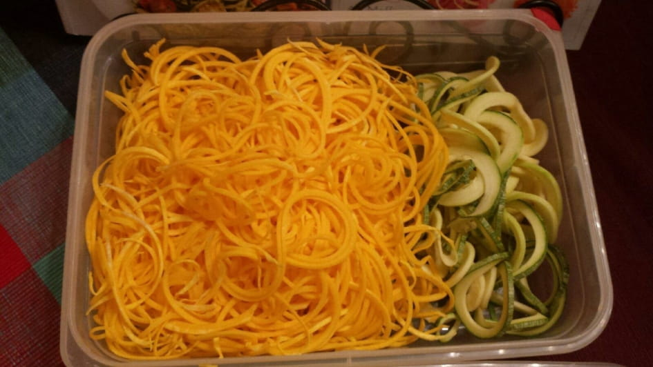 Freshly Spiralized Carrots and Zoodles