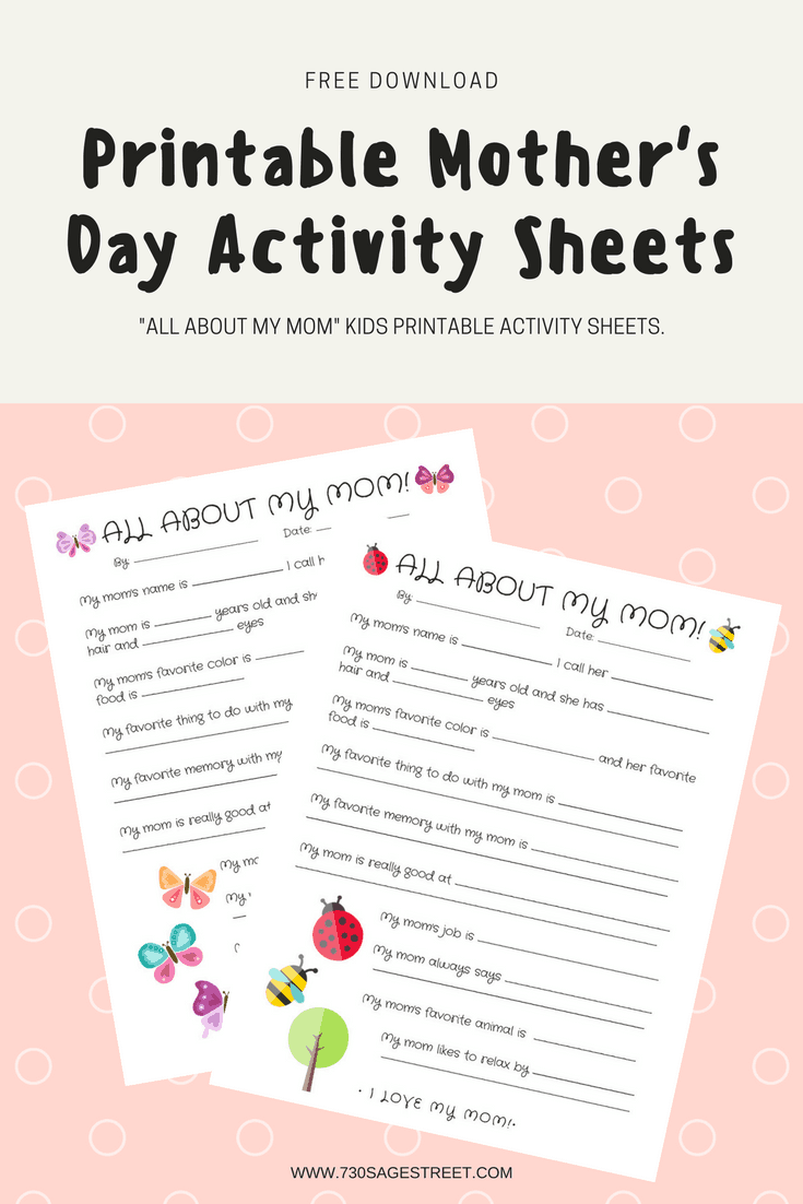 two printable mother's day activity sheets on a pink background