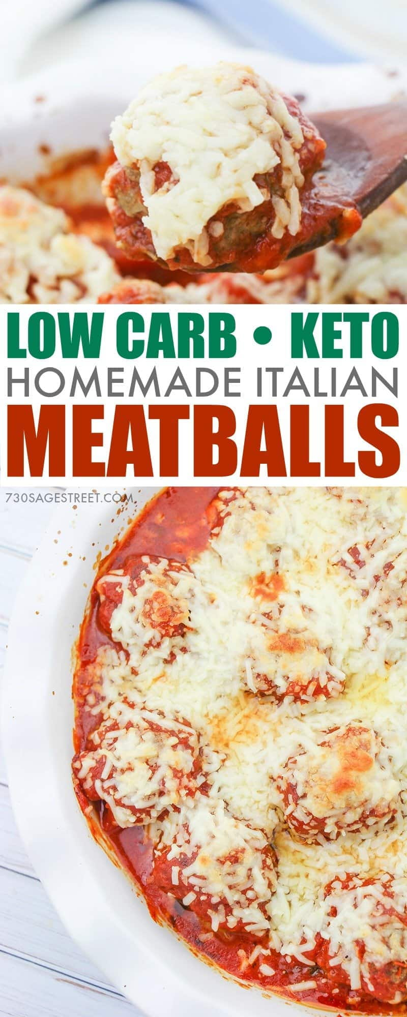 keto meatballs photo collage with text