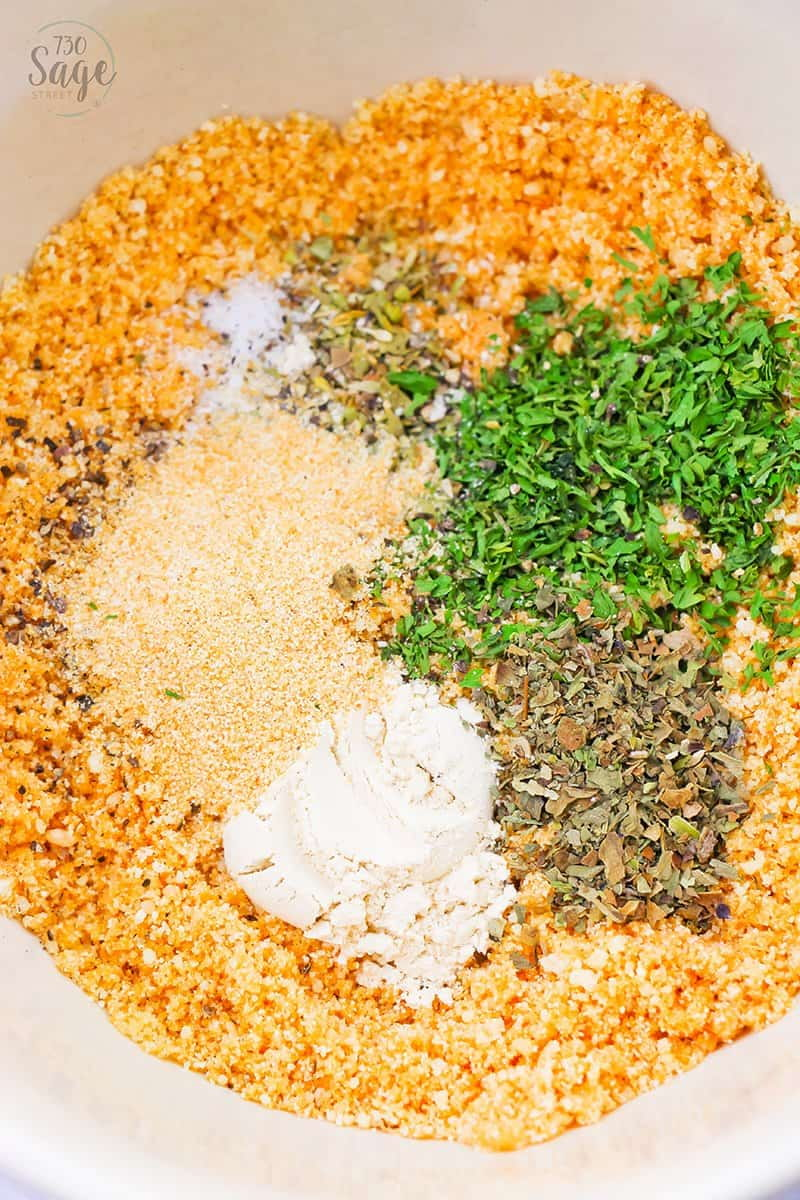 low carb breadcrumbs ingredients in a white bowl