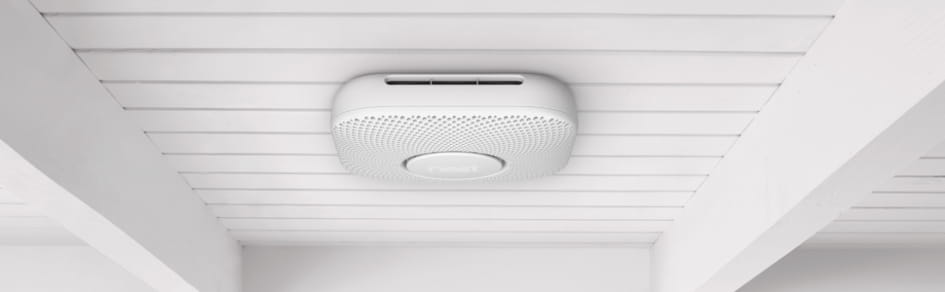 Google Nest Protect mounted to the ceiling.