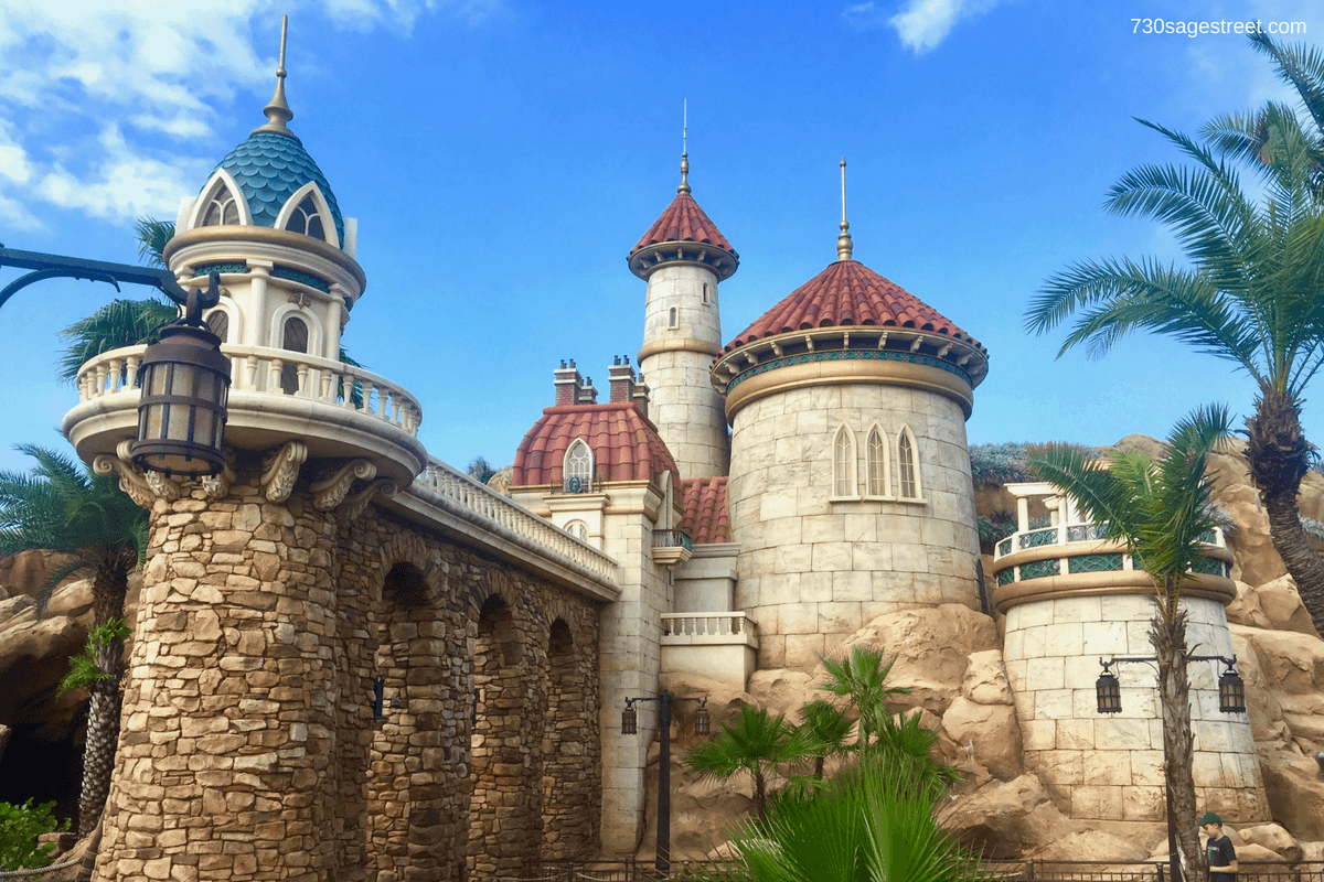 Stone castle with red tile roof at Walt Disney World Magic Kingdom