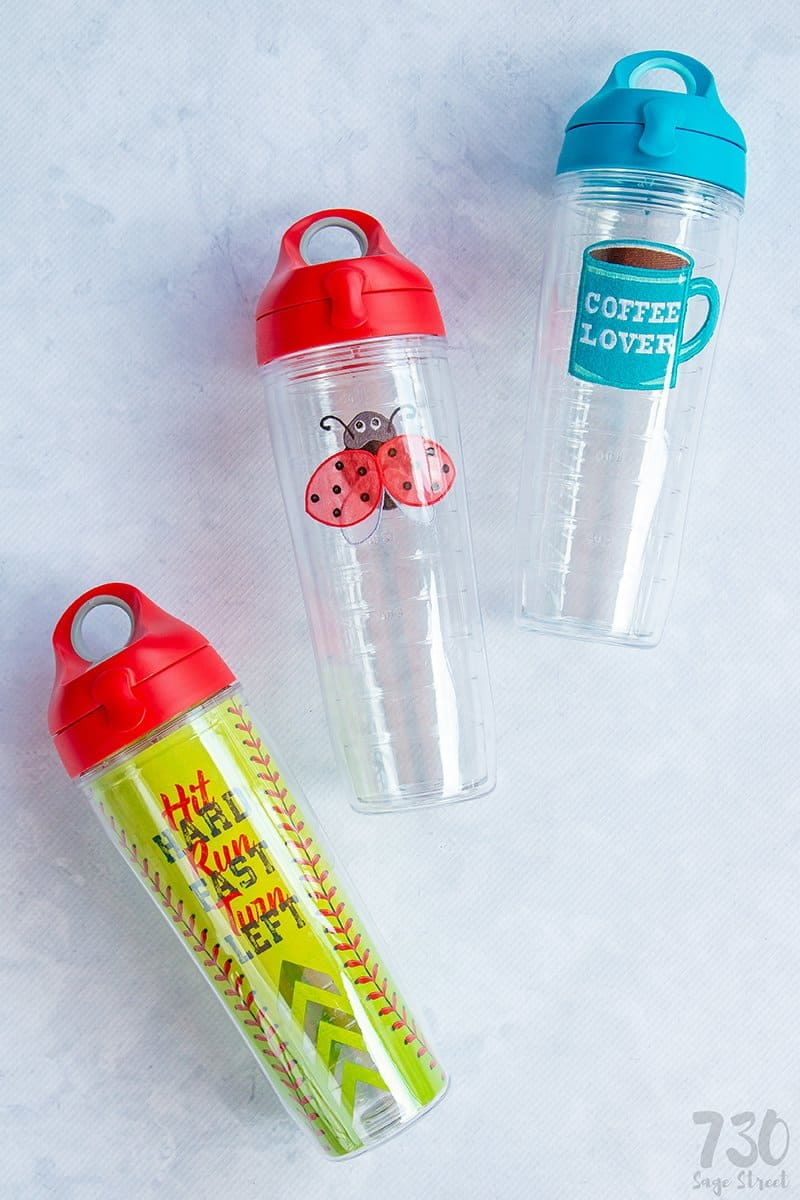 3 Tervis water bottles on a white background