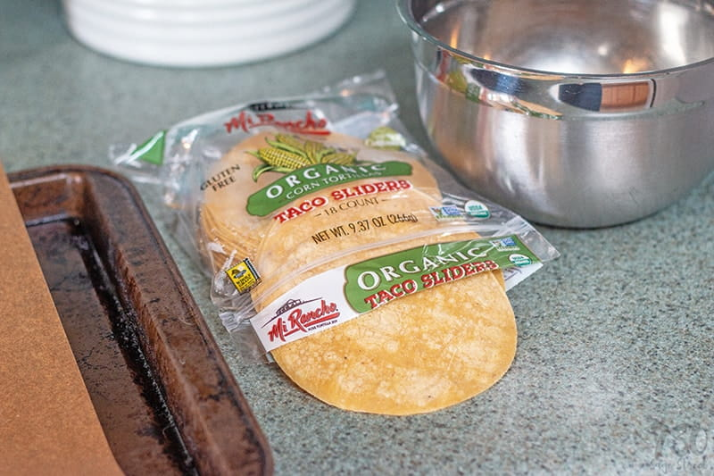 organic corn tortilla sliders partially out of the package