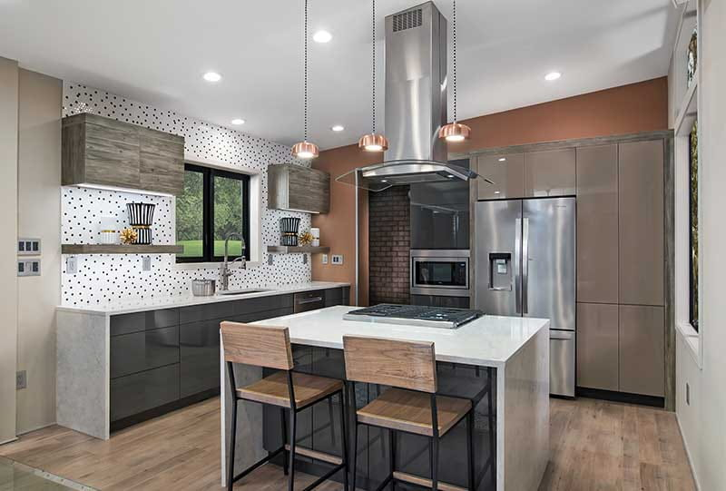 modern kitchen with frameless cabinets