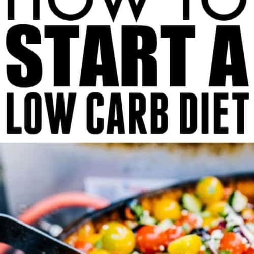 two photos with the text how to start a low carb diet between them