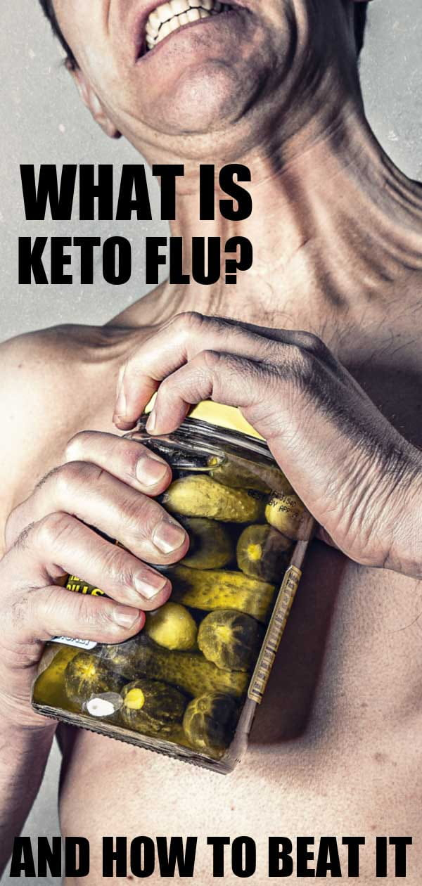 man trying to open a jar of pickles with the words what is keto flu