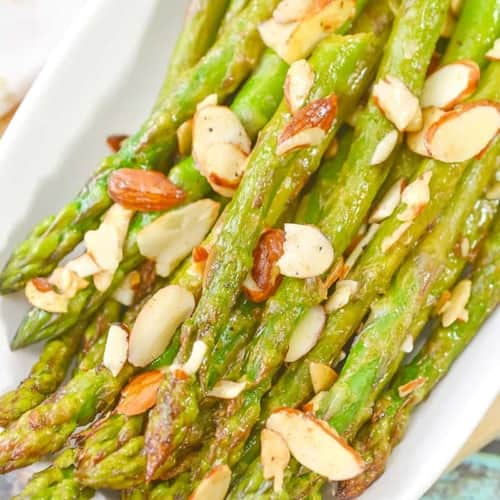 overhead view of asparagus almondine recipe