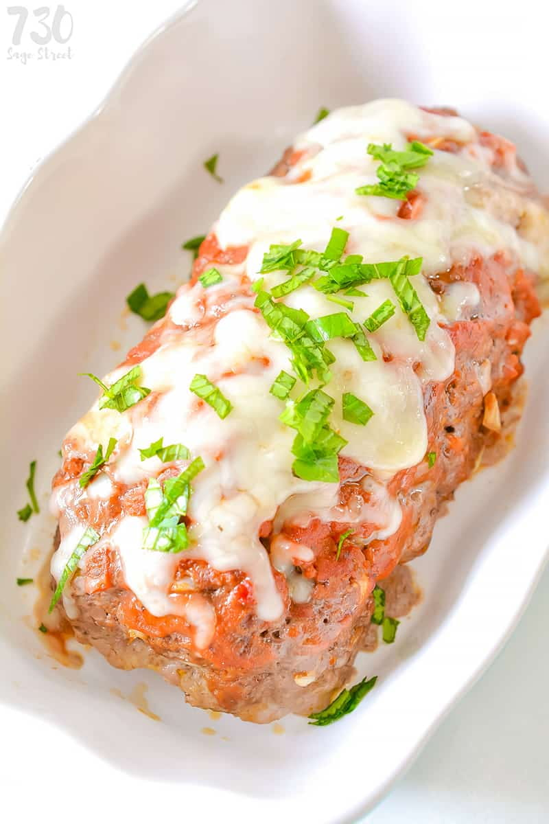 low carb meatloaf in a white loaf pan