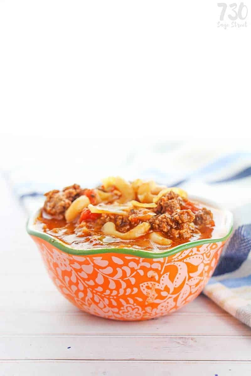 orange bowl with vegan goulash
