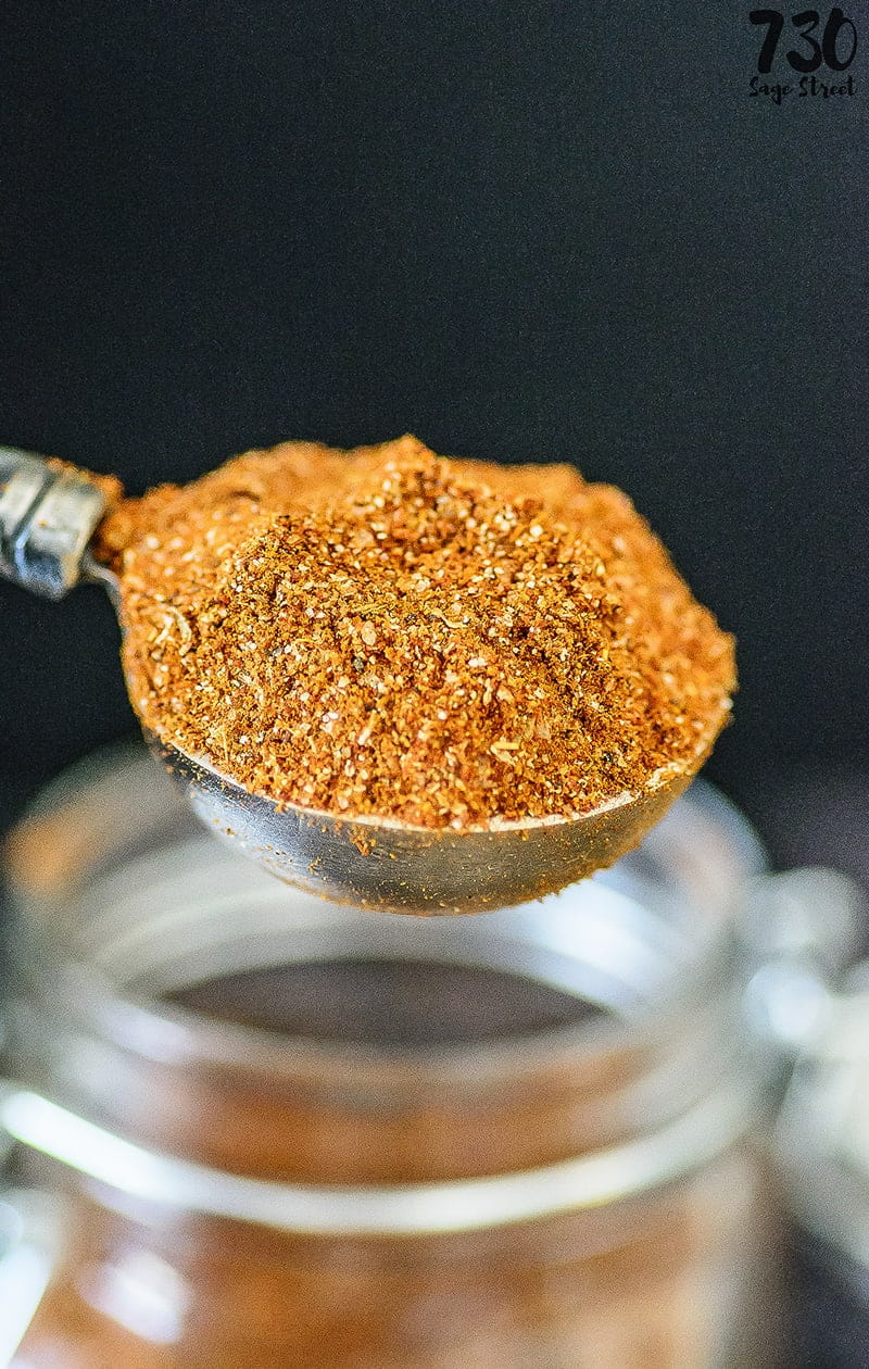 taco seasoning in a measuring spoon