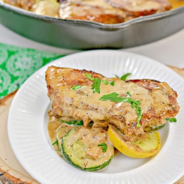 Keto Creamy Mustard Pork Chops with Sauteed Vegetables