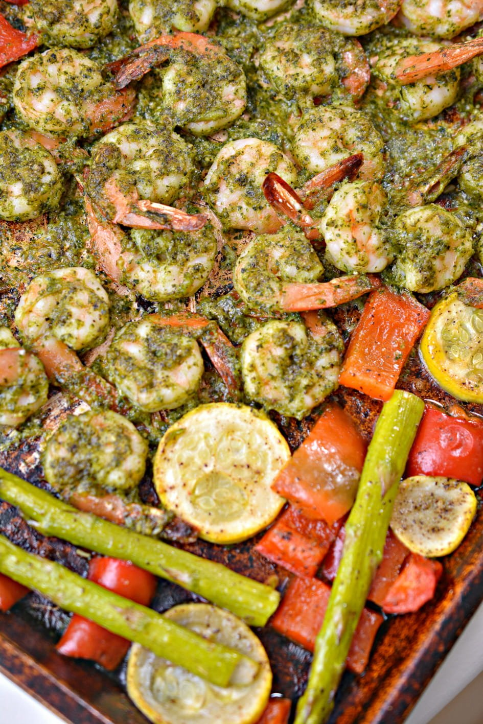 Full Sheet Pan just out of the oven with Pesto Keto Shrimp Sheet Pan