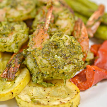 (Pesto) Keto Shrimp Sheet Pan with Seasonal Veggies