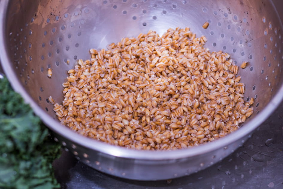 After cooking, rinse the Farro with cold water.
