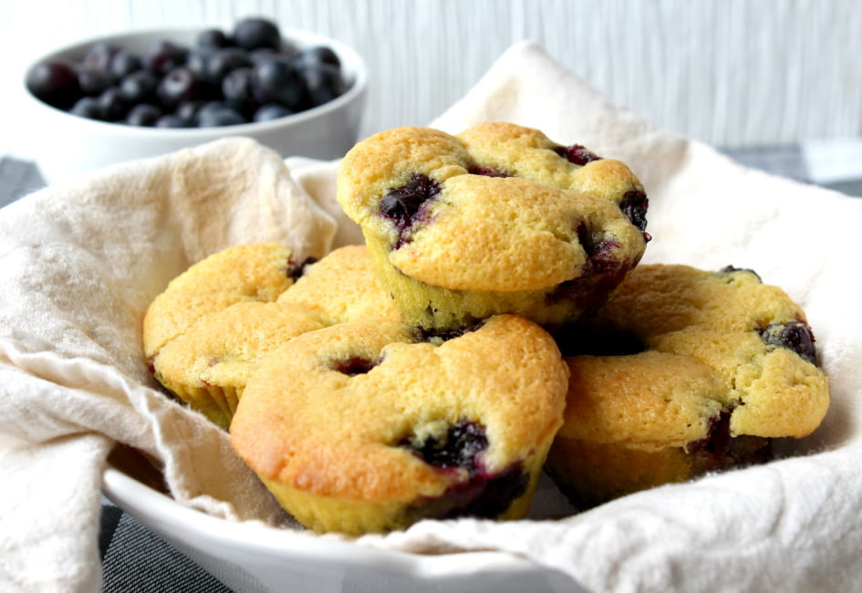 Keto Blueberry Muffins with Fresh Blueberries!