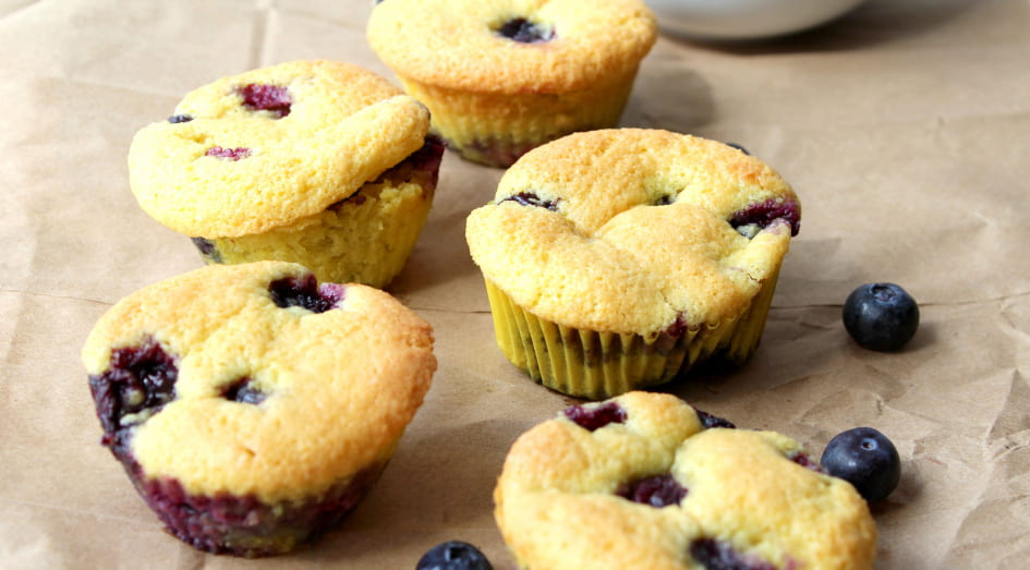 Blue Berry Muffins removed from oven and cooling.