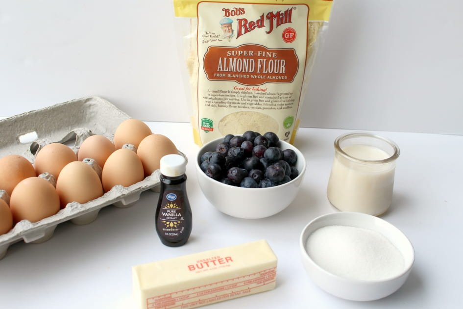 Eggs, Almond Flour, Fresh Blueberries, Vanilla, Butter, Erythritol, Baking Powder