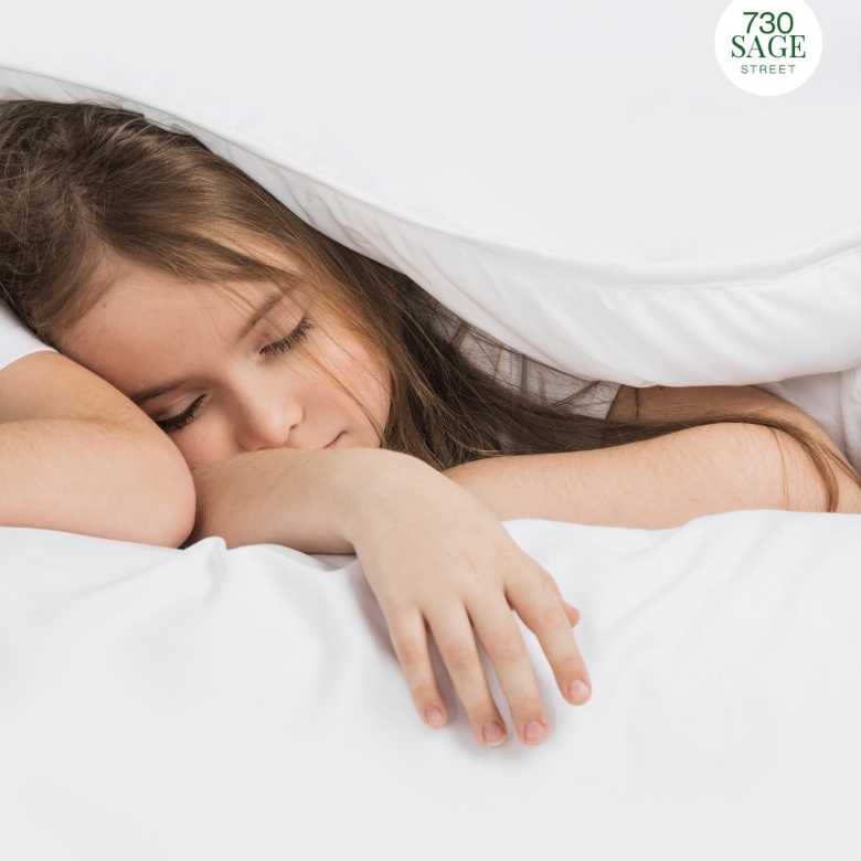 girl sleeping on clean mattress