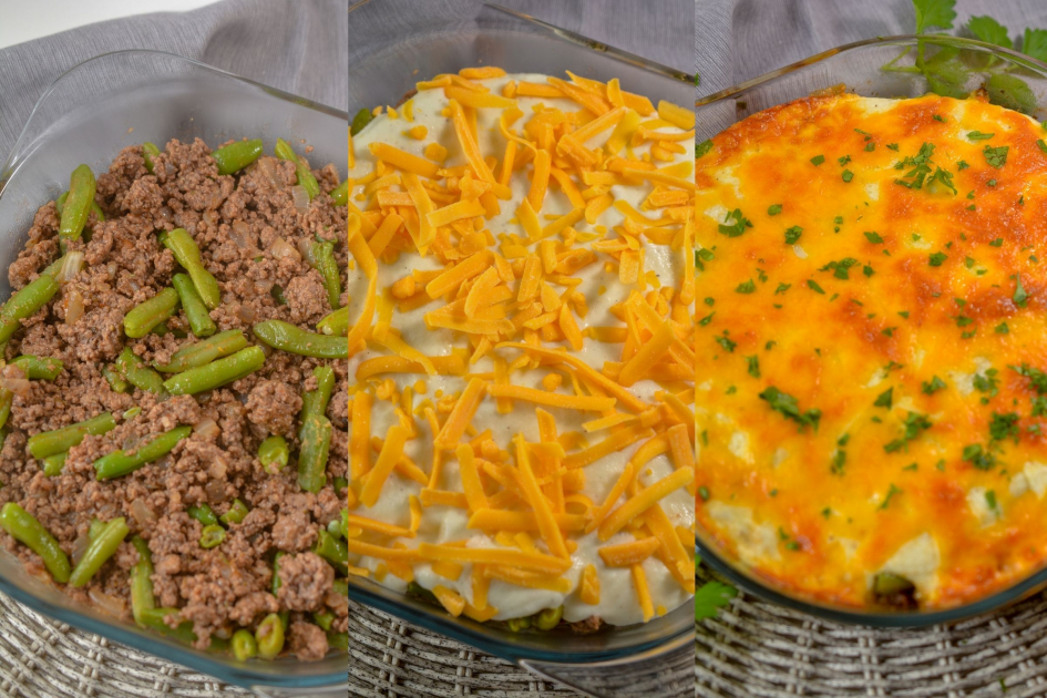 casserole dishes with layers of beef, cauliflower, and cheese