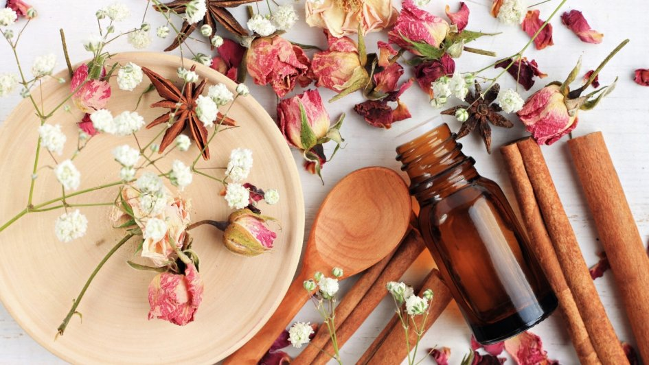 essential oils, container, flowers