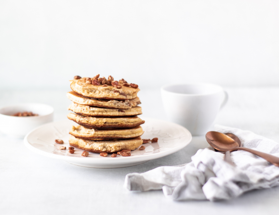 full stack of keto pancakes, fresh cup of coffee