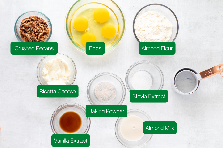 Ingredients used in Keto Pancakes (pecans, eggs, almond flour, ricotta cheese, baking powder, stevia extract, vanilla extract, almond mix