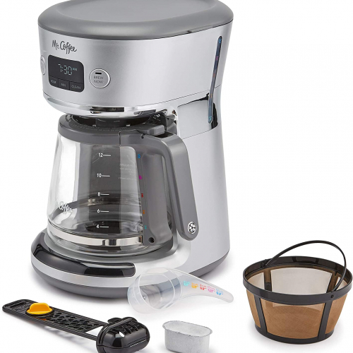 Unboxed Mr Coffee 12-cup programmable coffee maker (grey) with mesh filter (gold), water filter and measuring spoon