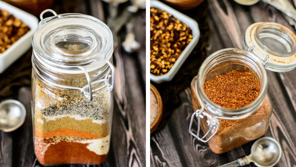 Spice Jars filled with Taco Seasoning